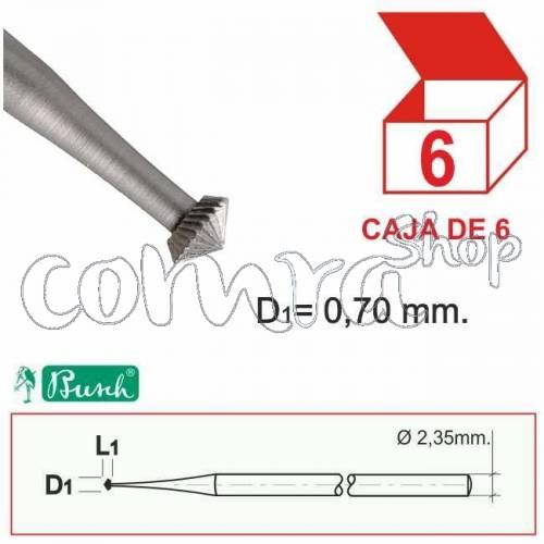 Fresa Acero Doble Cono 0,70mm. C/6
