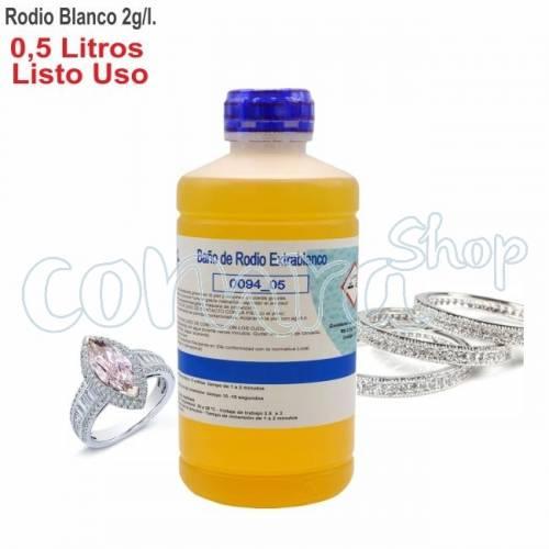 Baño de Rodio Blanco 2,0gr/l. Envase 0,5 Litro